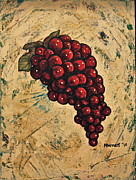 Purple Grapes Framed Prints - Juicy Red Grapes Framed Print by Martha Bennett