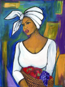 African-american Mixed Media Framed Prints - Juju Framed Print by Diane Britton Dunham