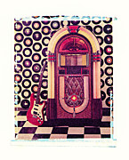 Electric Guitar Posters - Juke Box Polaroid transfer Poster by Garry Gay