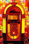 Songs Prints - Juke box with Christmas lights Print by Garry Gay