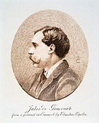 Novelist Framed Prints - JULES A.H. DE GONCOURT (1830-1870). French novelist: engraving after a contemporary portrait on enamel Framed Print by Granger