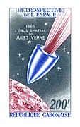 Commemorative Posters - Jules Verne Commemorative Stamp Poster by Detlev Van Ravenswaay