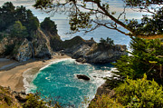 California Big Wave Surf Prints - Julia Pfeiffer State Park Falls Print by Connie Cooper-Edwards
