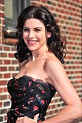 Peach Dress Framed Prints - Julianna Margulies At Talk Show Framed Print by Everett