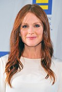 Hair Parted In The Middle Framed Prints - Julianne Moore At Arrivals For No Framed Print by Everett