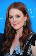 Diamond Earrings Photo Framed Prints - Julianne Moore At Arrivals For The Kids Framed Print by Everett