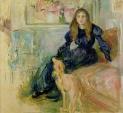 Berthe Painting Framed Prints - Julie Manet and her Greyhound Laerte Framed Print by Berthe Morisot