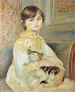 Pierre Framed Prints - Julie Manet with Cat Framed Print by Pierre Auguste Renoir