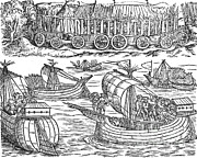 Julius Caesar Sailing The Thames 54 Bc Print by Photo Researchers