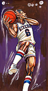 Hall Of Fame Drawings Framed Prints - Julius Erving Framed Print by Dave Olsen