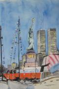 Twin Towers Trade Center Painting Metal Prints - July 4th Metal Print by Judy Riggenbach