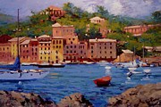 Portofino Italy Paintings - July in Portofino by R W Goetting