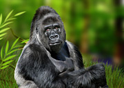 Gorilla Digital Art Metal Prints - Jumbo Metal Print by Julie L Hoddinott