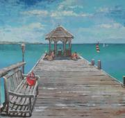 Caribbean Sea Paintings - Jumby Dock by Jan Farara