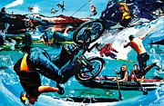 Sports Art Mixed Media - Jump The Lake by Gerald Herrmann