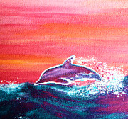 Dolphin Paintings - Jumping Dolphin by Nick Gustafson