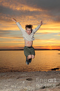 Rocky Maine Coast Posters - Jumping For Joy Poster by Ted Kinsman