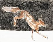 Icon Painting Prints - Jumping Fox in the snow Print by Sophy White