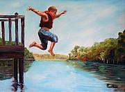 Waccamaw River Paintings - Jumping In The Waccamaw River by Phil Burton