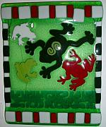 Amphibians Glass Art - Jumping Into Spring by Beverlee Olson