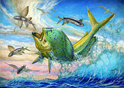 Sportfishing Prints - Jumping Mahi Mahi And Flyingfish Print by Terry Fox
