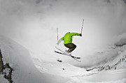Ski Photos - Jumping Of Rock by Camilla Hylleberg Photography