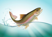 Trout Digital Art - Jumping Rainbow trout by Artem Efimov