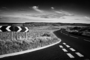 Antrim Prints - Junction On The Antrim Coastal Road Route Over Mountains On The Antrim Plateau County Antrim Print by Joe Fox