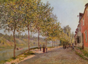 Tree-lined Metal Prints - June Morning in Saint Mammes Metal Print by Alfred Sisley