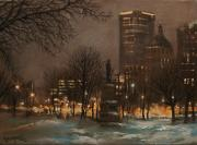 City At Night Paintings - Juneau Park Milwaukee by Tom Shropshire