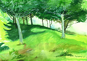 Peaceful Scene Paintings - Jungle 2 by Anil Nene