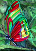 Colored Pencil Mixed Media Metal Prints - Jungle Butterfly Metal Print by Mindy Newman
