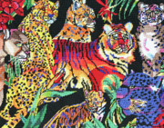Cotton Tapestries - Textiles Prints - Jungle Cats Print by Daphne Sampson