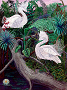 Egrets Paintings - Jungle Dance by Lyn Cook