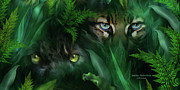 Big Cat Art Art - Jungle Eyes - Panther And Ocelot  by Carol Cavalaris
