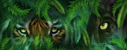 Cat Art Mixed Media Metal Prints - Jungle Eyes - Tiger And Panther Metal Print by Carol Cavalaris
