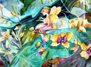 Orchids Drawings - Jungle Garden Spirits by Mindy Newman