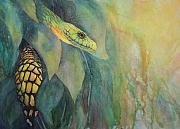 Reptiles Painting Originals - Jungle Guardian by Judy Raley
