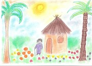 Jungle Pastels Originals - Jungle hut by Noemi Hajdu