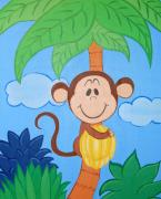 Banana Drawings Posters - Jungle Monkey Poster by Valerie Chiasson-Carpenter