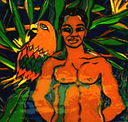 Man Ceramics Metal Prints - Jungle Pals Metal Print by Patricia Lazar