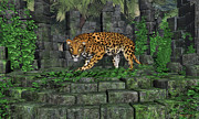 Bigcat Posters - Jungle Ruins Jaguar Poster by Walter Colvin
