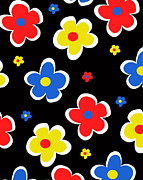 Motif Digital Art Prints - Junior Florals Print by Louisa Knight