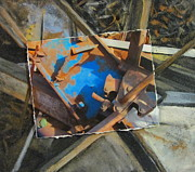 Junk Mixed Media Posters - Junk Abstract layered Poster by Anita Burgermeister