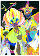 Whistles Prints - Junkanoo Dancers Print by Florence Bramley Hill