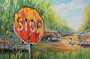 Stop Sign Painting Framed Prints - Junkyard Dog Framed Print by Daniel W Green