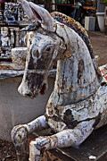 Old Objects Photo Metal Prints - Junkyard Horse Metal Print by Garry Gay