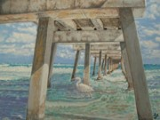 Reynolds Paintings - Juno Pier Florida by Wayne Vander Jagt