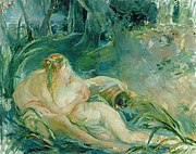 Cuddle Paintings - Jupiter and Callisto by Berthe Morisot
