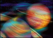 Planets Art - Jupiter And Saturn by Mehau Kulyk